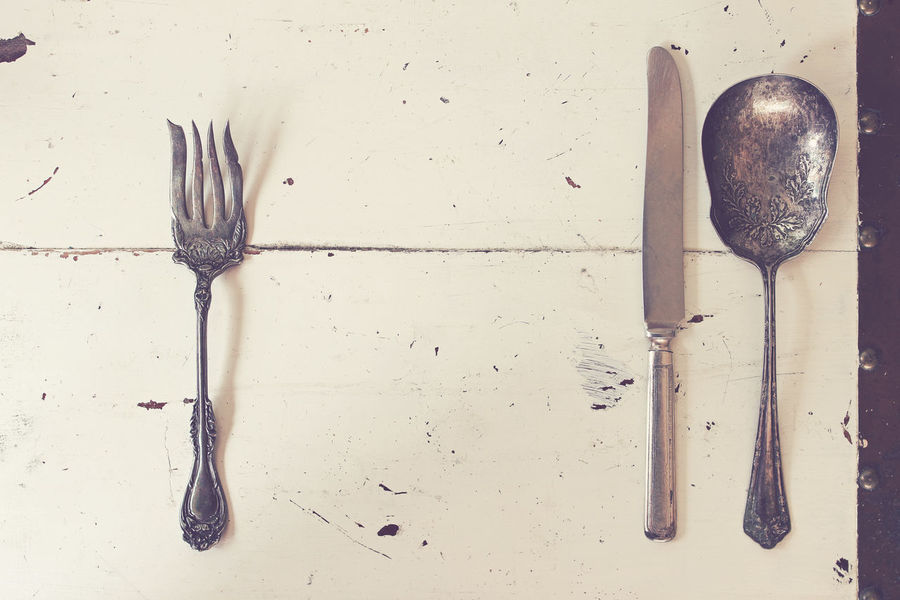 Meal time Above Background Breakfast Concept Copy Space Cutlery Dinner Dinner Party Elegant Etiquette Fine Dining Food And Drink Manners Meal Meal Time Place Setting Restaurant Rustic Silverware  Supper Table Table Setting Vintage White Wood