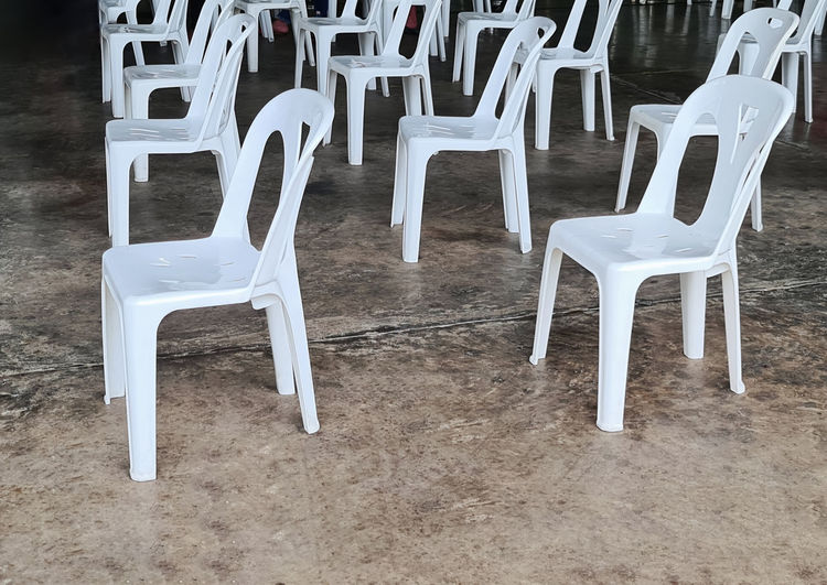Empty chairs and tables on floor