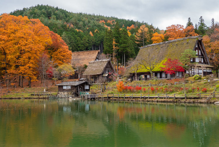 Lake by trees and houses against sky during autumn