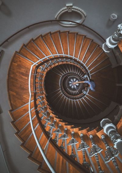 Spiral Staircase Steps And Staircases Railing Architecture Steps Design Spiral Stairs Built Structure Stairs High Angle View No People Indoors  Hand Rail Close-up Day