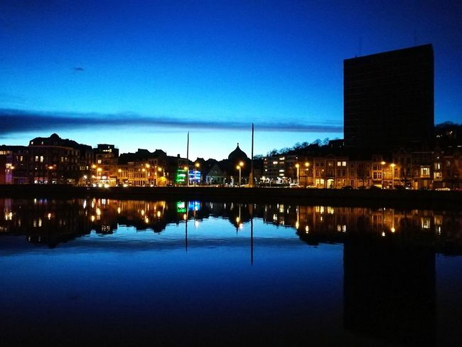 Liege by night City Cityscape Water Illuminated Urban Skyline Modern Nightlife Reflection Blue Dusk