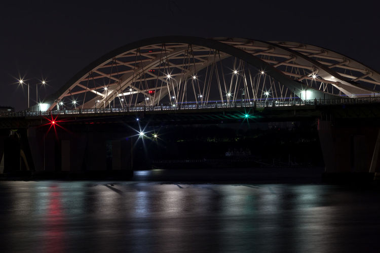 Bridge by han river in city at night