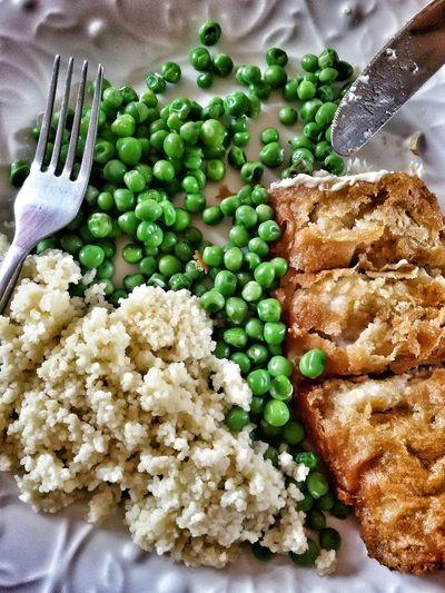 Mealtime Food Green Peas Battered Cod Fish Fork Knife Food Photography Foodporn Plate