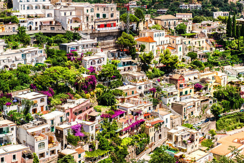 View of Positano. Positano is a small picturesque town on the famous Amalfi Coast in Campania, Italy. Campania Day Europe Famous Place Hillside Houses Italy Landmark Landscape Mediterranean  Mountain Nature Outdoors Picturesque Village Positano Resort Rooftops Scenery South Summer Summertime Sunny Town Travel Destinations Urban