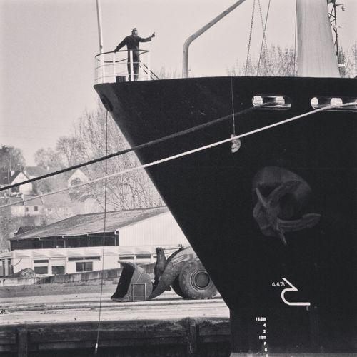 Bateau Boat Cargo Zone Portuaire Port Area Marin Sailor Freighter Noiretblanc Black And White