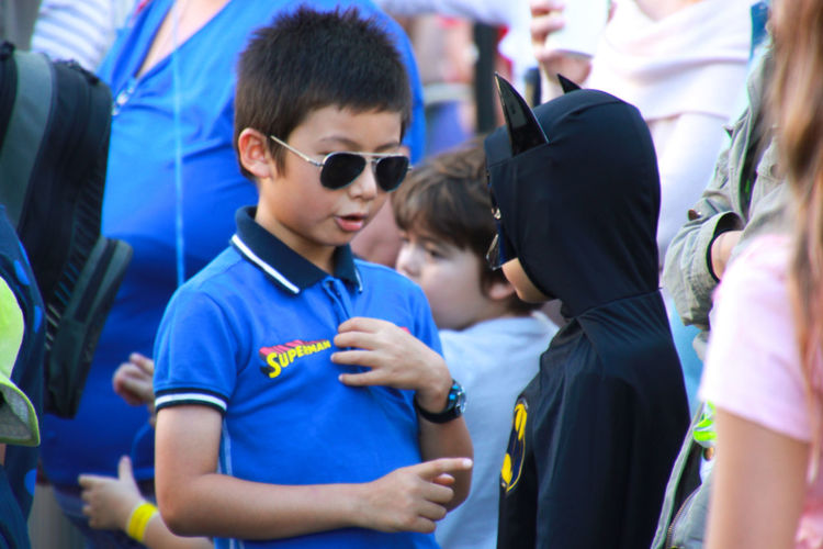 Batman Boys Childhood Close-up Conversation Day Family Friendship Outdoors People Real People Street Street Photography Sunglasses Superhero Superheroes Superman Togetherness The Street Photographer - 2017 EyeEm Awards Diversity