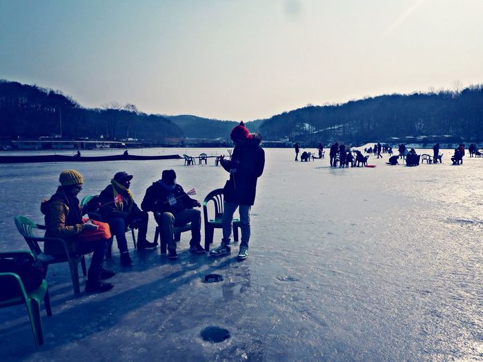 One of the frozen lakes not far from Seoul. This is me ice fishing ? First Eyeem Photo