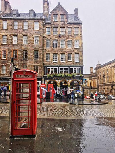 Telephone Booth Pay Phone Architecture Edinburgh, Scotland Scotland Summerrain Rain EyeEm Selects