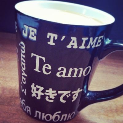 My favorite coffee cup says 'I love you' in different languages