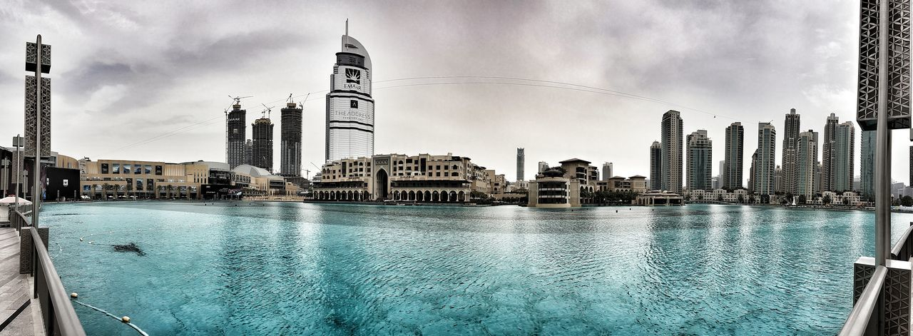 Downtown Dubai. Dubai Downtown Downtown Dubai Theaddress Cityscapes Skyscrapers Clouds Beautiful Dubai Mall Cityscape Photography Cityscapes_collection Cityscape Architecture Architecturelovers Architecture_collection Water Fountain Engineering Panorama Galaxys7 Panoramic Landscape