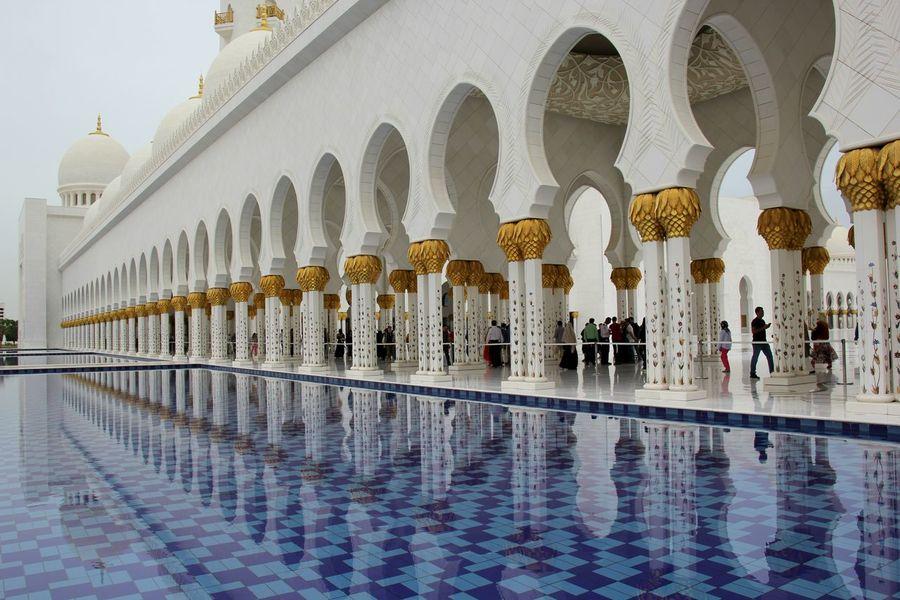 Abu Dhabi Arabic Architecture Column Islam Islamic Islamic Architecture Islamic Art Mesquita Mosquee Place Of Worship Pool Reflection Religion Sheikh Zayed Grand Mosque UAE United Arab Emirates White