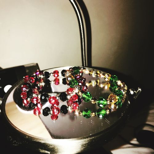 Bead Bracelet Beads Czech Beads Indoors  Table No People Close-up Still Life Sweet Food Decoration Red