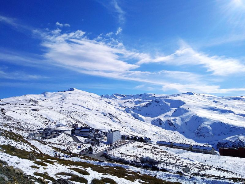 Granada SPAIN Mountain Snow Blue Blue Sky Cold Cold Temperature Sunny Wintertime Winterscapes EyeEm Selects Snow Cold Temperature Winter Mountain Scenics Nature Sky Landscape Cloud - Sky Snowcapped Mountain Blue Mountain Range Outdoors Day Beauty In Nature Tranquility No People Vacations