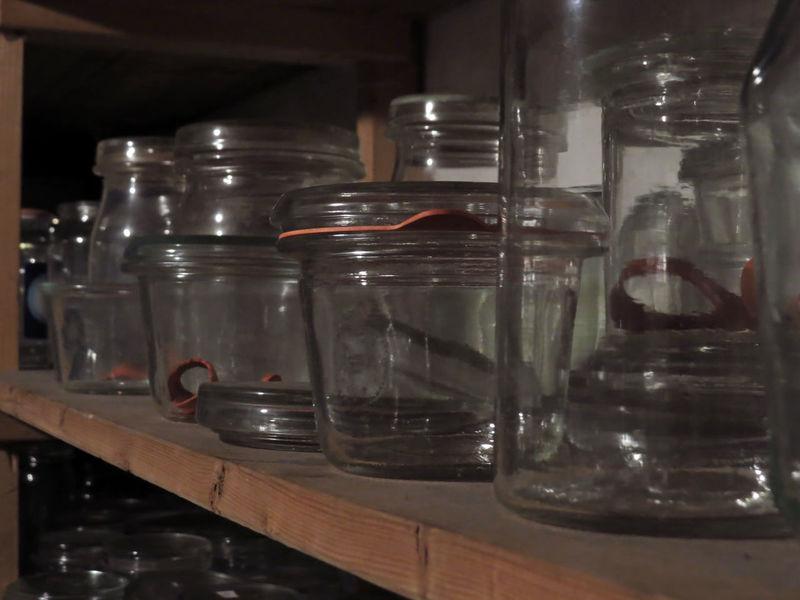 Bottle Bottles Can Canning Close-up Drink Focus On Foreground Glass Glass - Material Glasses Indoors  Jar Jars  Large Group Of Objects Preserving Rack Reflection Rubber Shelf Shelves Still Life Storage Storage Room Store Transparent