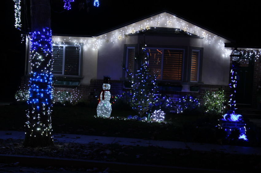 Christmas lights Blue Illumination Christmas Decoration Christmas Lights Decoration Illuminated Night Snowman