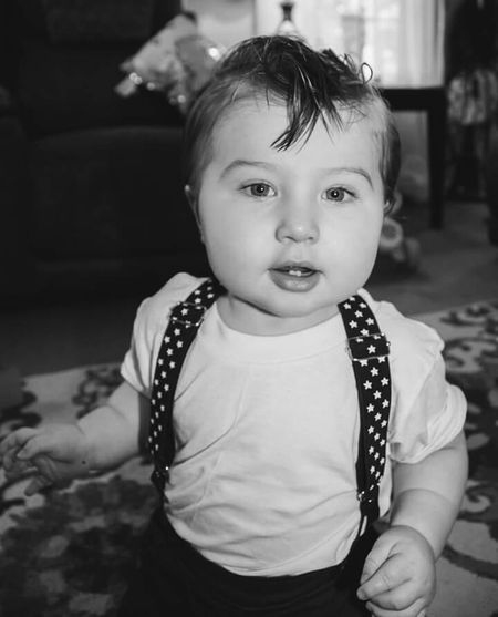Childhood Child Portrait Baby Cute Happiness Close-up Looking At Camera Rockabilly Greaser Hairstyle Blackandwhitephotography Black&white Blackandwhite Blackandwhite Photography