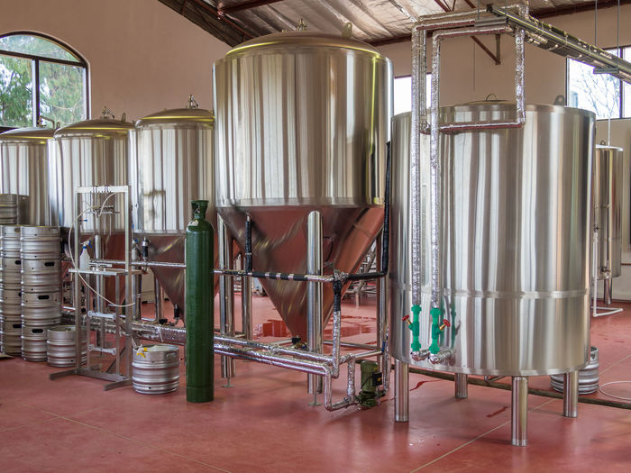 Beer Tanks Brewery Craft Craft Beer Day Indoors  Large Group Of Objects No People Steel Stainless Steel  Tank Brewing Brewing Beer