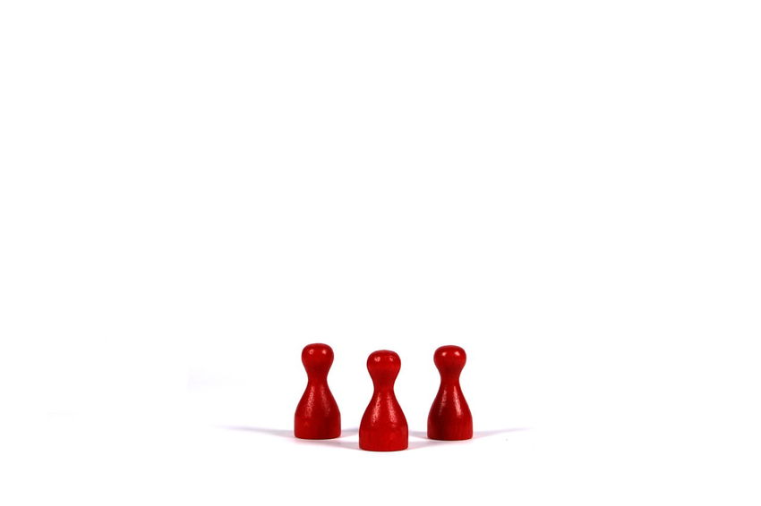 Copy Space Isolated Isolated White Background Meeple Red Room For Text Standing Studio Shot Token White Background