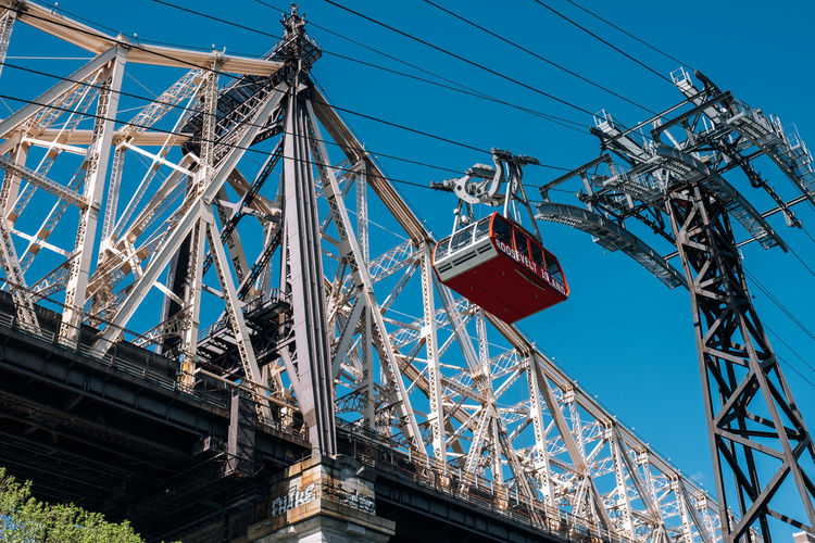 New York City - USA - May 15 2019: Queensboro bridge and tramway on Roosevelt Island East River Landscape America Architecture Blue Bridge Building Cable City Cityscape Day Downtown East Famous Garden Island Landmark Lifestyle Manhattan Midtown Modern New New York City NY NYC Panoramic Park Queensboro River Roosevelt Roosevelt Island Scenic Sky Skyline Skyscraper Spring Street Sunny Tourism Tower Tram Tramway Transportation Travel Urban USA View Water Waterfront York