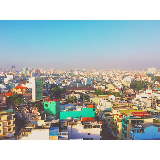 Saigon Ho Chi Minh City Vietnam City Cityscapes Sky Skyline Cloudless Sunny Nice Day