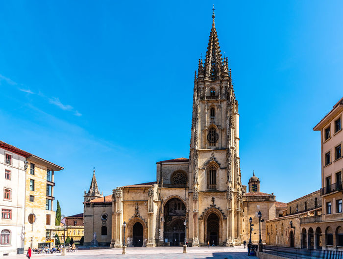 Outdoor view of the Cathedral of Oviedo Oviedo Asturias Cathedral Square City Cityscape Architecture Building Exterior Built Structure Building Sky Religion Belief Place Of Worship Travel Destinations Spirituality Blue Travel Nature Tower Tourism Incidental People Day Outdoors Spire  Gothic Style