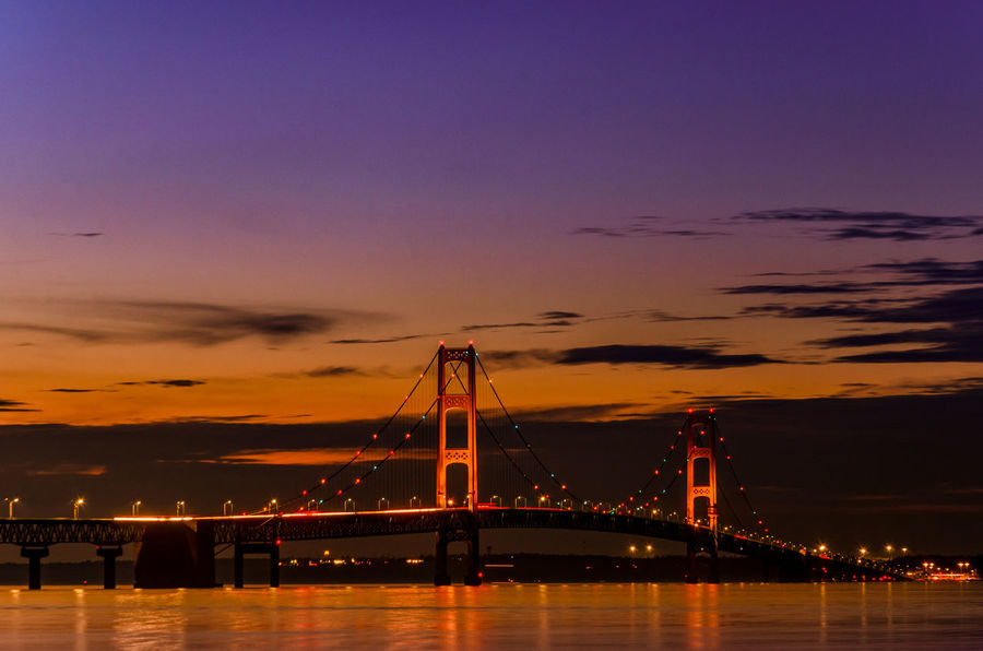 Bridge at dusk Mackinac Bridge Michigan Architecture Bay Bridge Bridge - Man Made Structure Built Structure Cloud - Sky Connection Engineering Illuminated Nature Night Orange Color Outdoors River Sky Sunset Suspension Bridge Transportation Travel Destinations Water