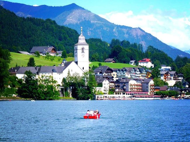 Austria Wolfgangsee Lake And Mountain View From Boot Sunmertime Peace And Quiet Minox Photos Travel Photography Lumix Eye4photography  EyeEm Best Shots EyeEm Gallery EyeEm Best Edits EyeEm Nature Lover Blue Series Popular Photos