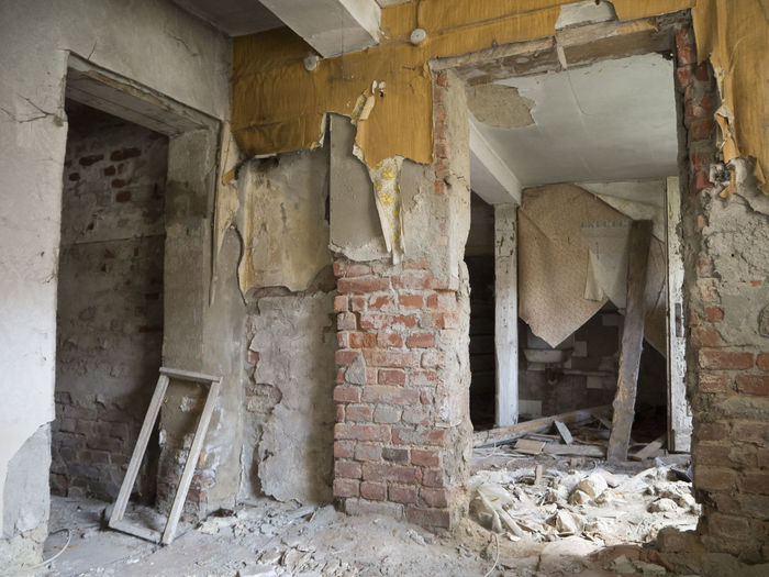 Building Site Built Structure Damaged Destruction Indoors  No People Old House Old Ruin Renovation Ruined