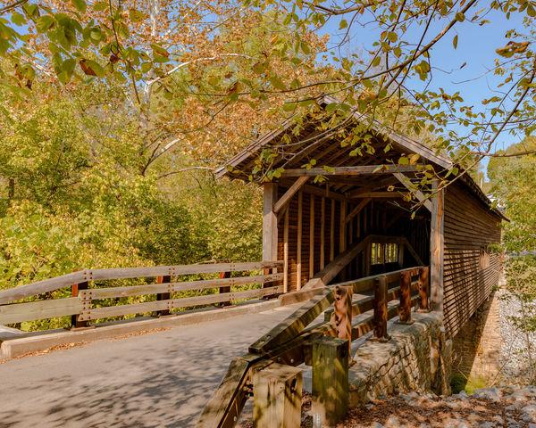 America Autumn Autumn Colors Autumn Leaves Bridge Covered Bridge Historic Russia Sevierville Tennessee U.S. United States Water Wooden