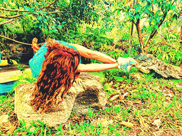Balancing Act Balance Yoga Pose Yoga One Person Grass Redhead Day Women Nature Green Color Forest Tree Outdoors Young Adult People Young Women Real People