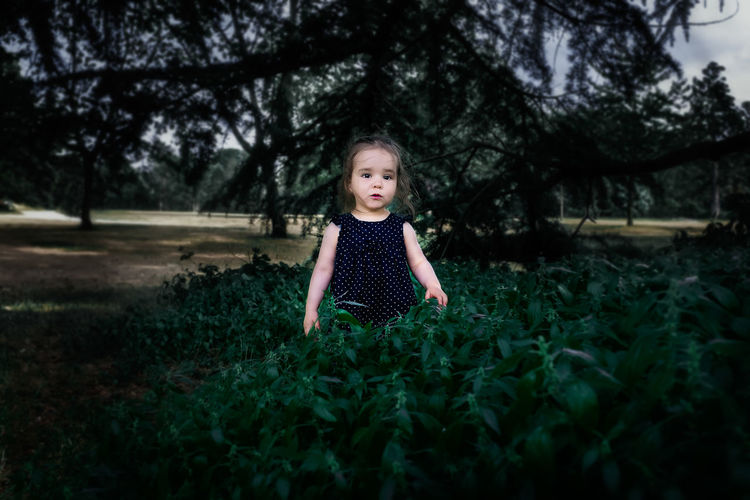 Girl Standing By Plants In Park