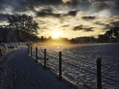 My journey which involved a blessed capture of this beautiful sunrise in the LAKE DISTRICT : Grassmere . As the Rays of the sun hit the snow filled field it created a beautiful mist . Blessed . Showcase: January The Lake District  Grassmere Beauty Nature