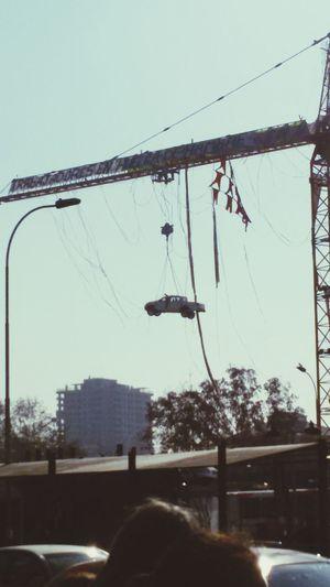 Wierd Demonstration Car Hanging In The Air