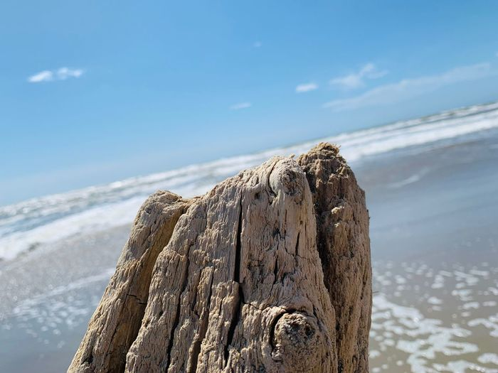 Close-up of wooden posts on beach against sky
