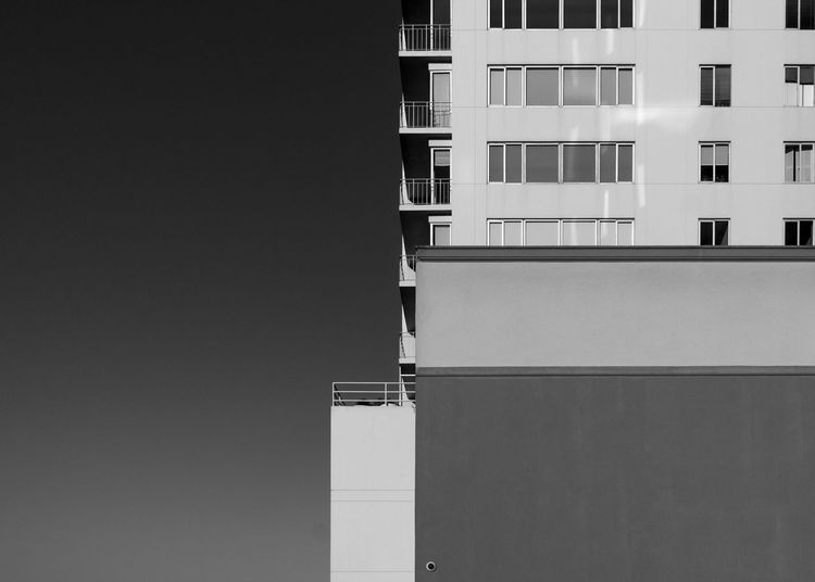 Squared Away Architecture Building Exterior Built Structure City Clear Sky Day Greyscale No People Outdoors Square Window