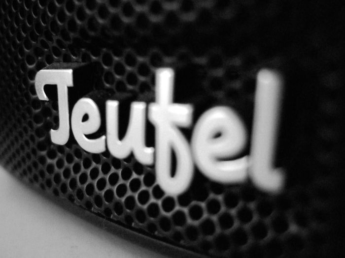 Berlin Close-up Communication Electronic Extreme Close Up Focus On Foreground Grid Logo Mesh Product Product Photography Speaker Teufel Text Typography Western Script