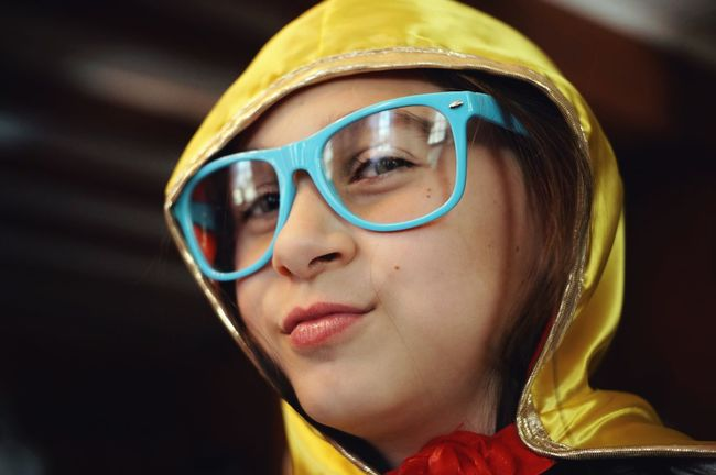 blue glasses and yellow hood. Child Fashion Unique Style Uniqueness Different Drummer. Girl Childhood Human Face Yellow People Eyeglasses  Portrait