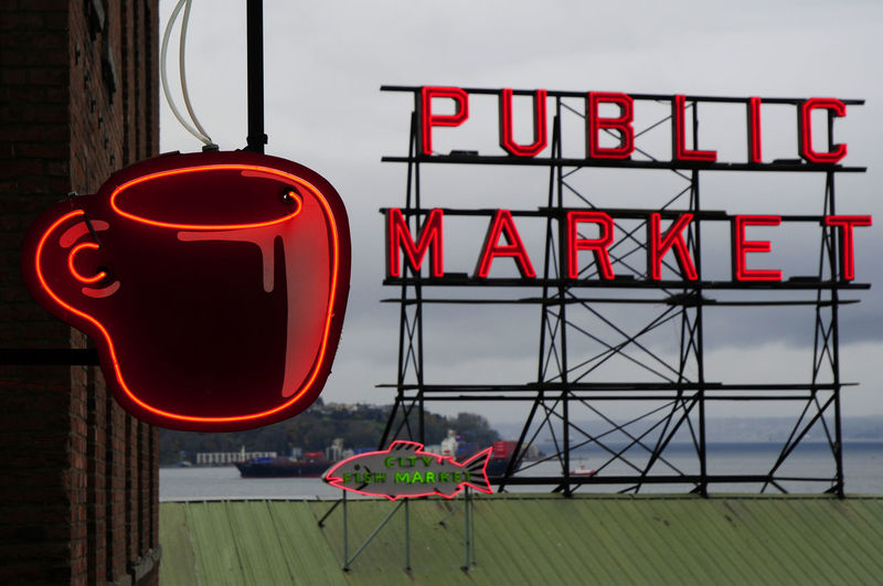 Coffee Cup O' Joe Pike Place Market Seattle Seattle, Washington Day Nature No People Outdoors Public Market Red Sky