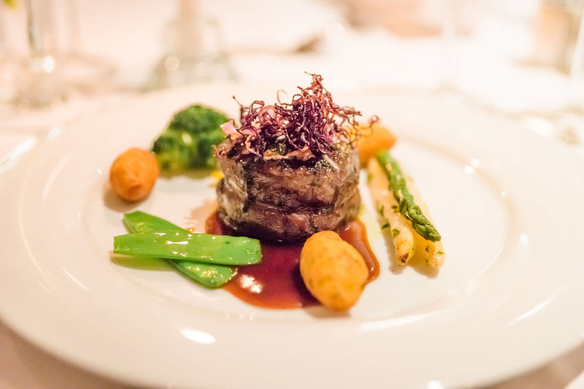 Close-up Crockery Dinner Focus On Foreground Food Food And Drink Food Styling Freshness Garnish Healthy Eating Indoors  Indulgence Meal Meat No People Plate Ready-to-eat Red Meat Selective Focus Serving Size Still Life Table Temptation Vegetable Wellbeing