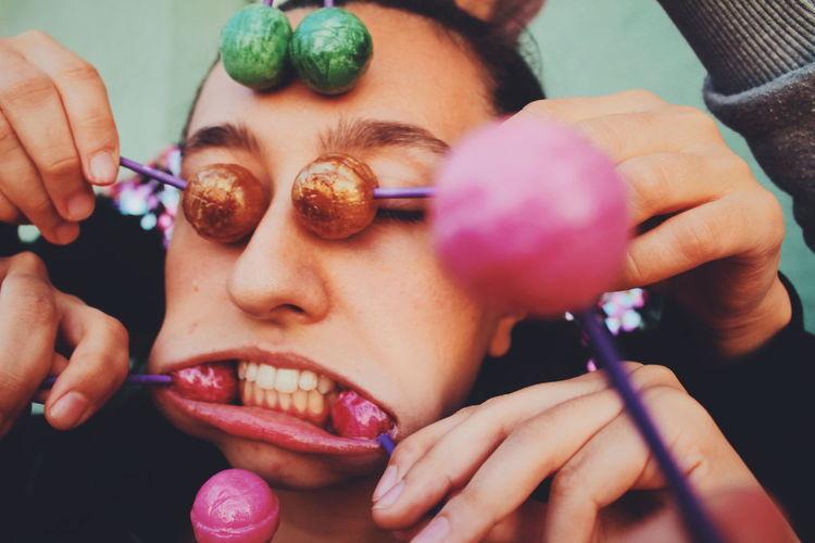 Smile for the camera ! Art Portrait Art And Craft Lollipop Weird Colorful Sweet Sweet Food Fun Human Hand Human Lips Young Women Women Beauty Human Face Headshot