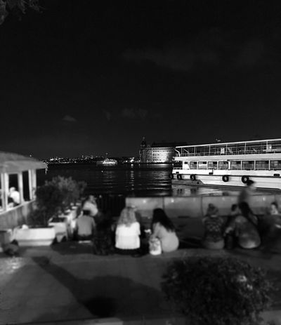 People Ship Sea Mediterranean  Haydarpasa Train Station Nightlife Dark