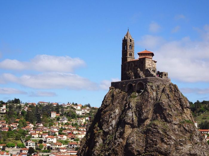 Fance Le Puy En Velay Architecture Built Structure Building Exterior Sky Cloud - Sky Day History Place Of Worship No People Travel Destinations Outdoors Clock Tower Bell Tower City Cityscape