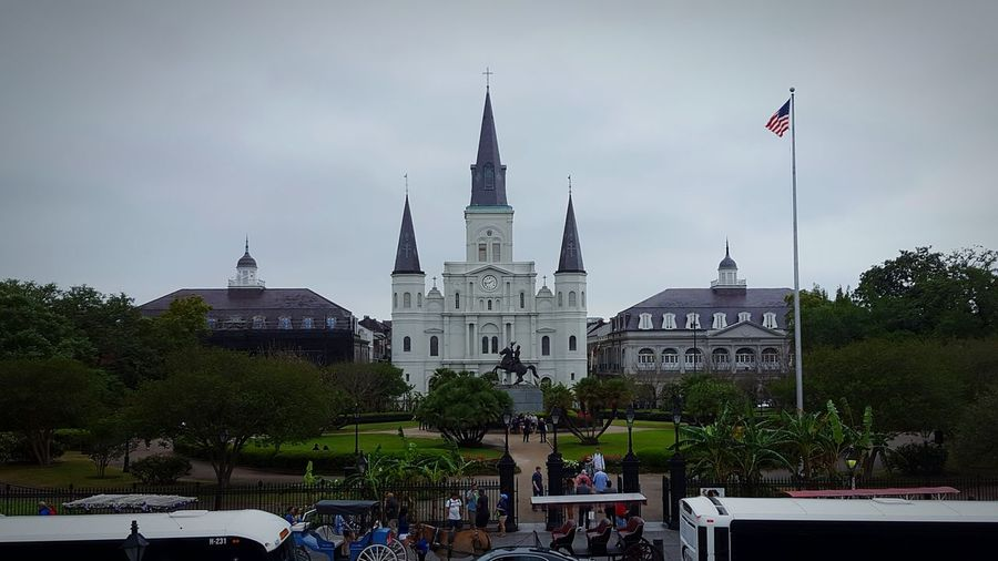 Low angle view of st louis cathedral against sky