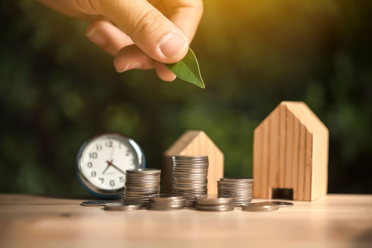 Close-up of hand holding leaf over coins and model house on table