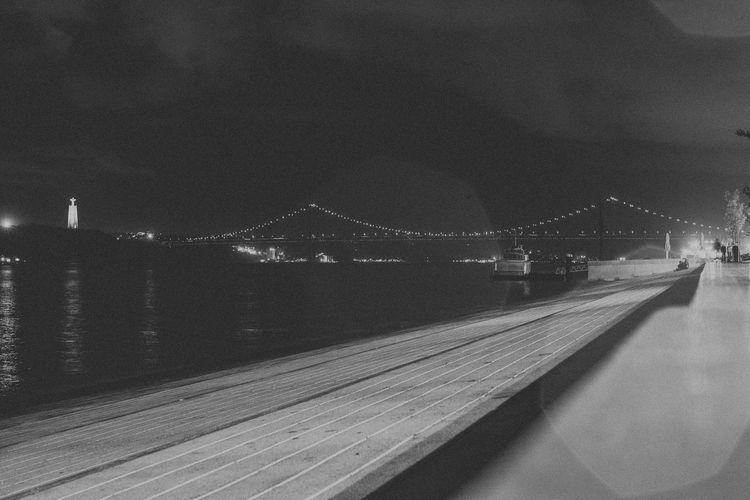 Architecture Black And White Bridge Esplanade Illuminated Night Old Town Outdoors Rain Raindrops Rainy Sky View