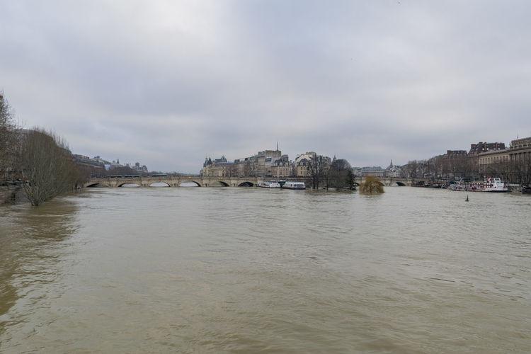 View of city at riverbank