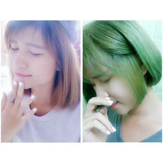 Before & after - I love new me :) That's Me Make Over Amazing Love Green Green Hair NewLook Saigon Forever Young