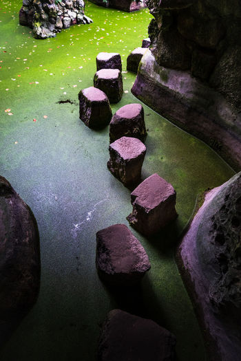 High angle view of stones in lake