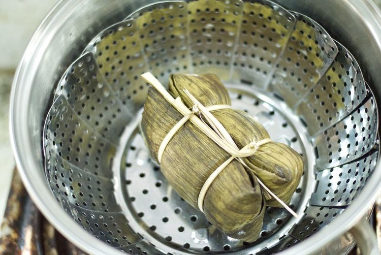 Thai snack in steam pot. Steam Bowl Close-up Day Freshness High Angle View Indoors  No People