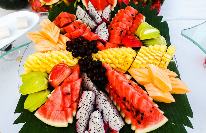 Close-up of multi colored fruits in plate